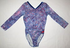 GK Elite Adult Small AS Blue Red Star Competition Patriotic Gymnastic Leotard