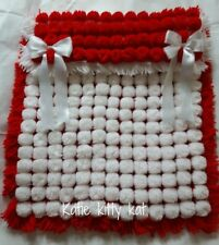POM POM TURNOVER BABY BLANKET WHITE & RED WITH REMOVABLE BOWS