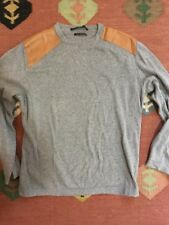 CIFONELLI Gray PERFORATED LEATHER SHOULDER PATCHES COTTON Sweater MENS M-L