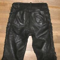 "lange POLO SCHNÜR- LEDERJEANS / Biker- Lederhose in schwarz Gr. S ca. W28"" /L35"""