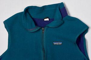Vintage PATAGONIA Fleece Vest Wmns M in Bottle Green Blue Back Pocket #2400 USA