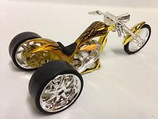 Vintage Three Wheels Bike Iron Chopper Motorcycle, Die Cast 1:18 Scale, Toy Gold