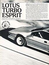 1987 Lotus Esprit Turbo Original Car Review Print Article J550