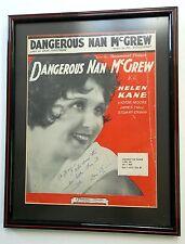 Framed Sheet Music DANGEROUS MAN McGREW Autographed DON HARTMAN Helen KANE Film