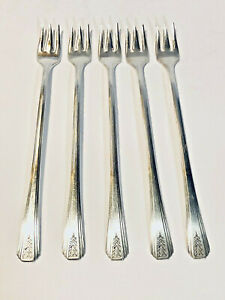 Oneida Community Par Plate Silverplate Cocktail Forks, Clarion Pattern, Set of 5
