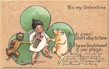 To My Valentine Signed Curtis Cupid Dog & Pig Raphael Tuck Postcard