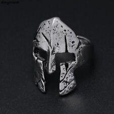 Antique Silver Spartan Helmet Mask Ring Vintage Punk Biker Cosplay Cool Jewelry