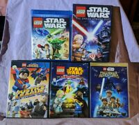 Lego Animated Movies DVD Lot (1 DC Super Heroes, 4 Star Wars Movies - 1 BluRay)
