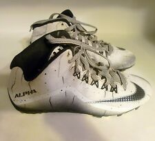 Nike 719927-100 Alpha Men's Size 8 White Black Cleat Shoes Football