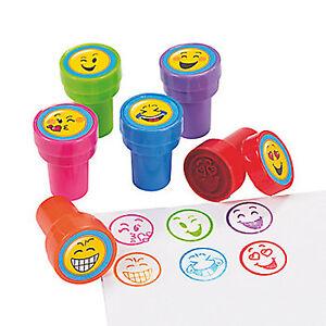 Kids Activity Stampers Emoji Smiley Face Ink Stamper Great Gift Favour Pk of 6