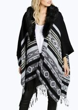 Over Sized Black & Grey Faux Fur Collar Poncho / Cape- One Size Fits 16-18-20-22