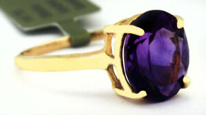 GENUINE 2.54 Cts AMETHYST RING 10K YELLOW GOLD ** Free Certificate Appraisal **