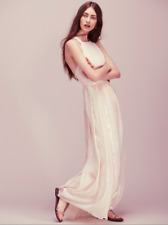 NEW $350 Free People Sequin Pleat Apron Dress - Pink - Open Back Crisscross Sz S