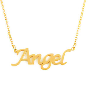 Angel Name Necklace Stainless Steel / Gold Tone | Mothers Day Gift Birthday