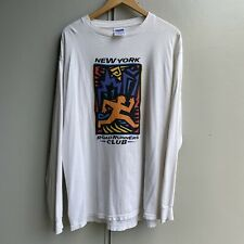 Vintage 90s Art Long Sleeve Tee NY Roadrunners Club Haring Escher Picasso XL