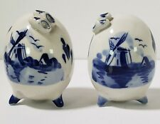 Vintage DELFT Blue Footed Egg Shaped SALT & PEPPER Shakers w/TINY Dutch Shoes