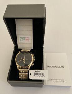 Emporio Armani Ar1893 Herrenuhr Armband Chrono Edelstahl Gold Schwarz Neu