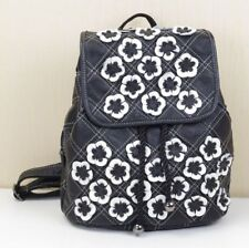 Women Genuine Real Cow Leather Backpack Travel Bag Handbag Flowers Black+White M