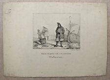 Lithographie, Marchand de poisson, XIXème, F. Delpech