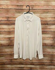 Mizzen + Main Mens Spinnaker White Herringbone Button Up Shirt XL Trim Fit Work