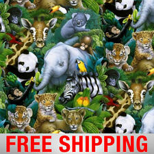 "Jungle Animals Safari Fleece Fabric - 60"" Wide - Style# 2016 - Free Shipping"