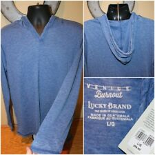 NWT $59 LUCKY BRAND Venice Burnout Long Sleeve Hooded Shirt Pullover Size M / L