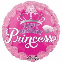 "Happy Birthday Princess 18"" Round Foil Balloon Girls Party Decoration"