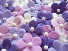 100! Cute Mulberry Paper Daisy Flowers - Lilac Purple & White Embellishment Mix