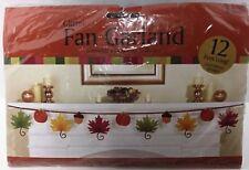 Glitter Fan Garland Fall Autumn Leaves Theme 12 Feet Long