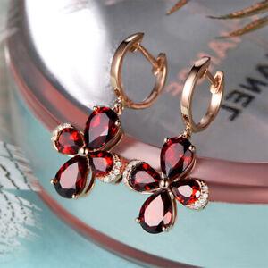 Korean Style 925 Sterling Silver Ruby Earrings Lucky Clover UK Seller