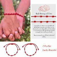 2 Pcs Lucky Red String Bracelet Kabbalah Amulet 7 Knots Protection Rope Gift Hot