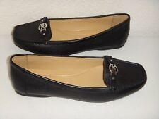 MICHAEL KORS Women's Flat Shoes Black Real Leather Silver MK Logo Size 6,7.5,9.5