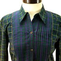 CHAPS DENIM Mixed Plaid Tartan Shirt Blue Green Red Button Front Women's M $65