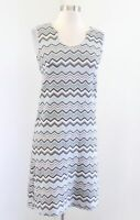 Lesley Evers Metallic Shimmer Chevron Striped Knit Dress Size S Blue Silver