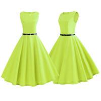 Women Neon Vintage Belt Pinup Work Party Sleeveless Rockabilly Retro Swing Dress