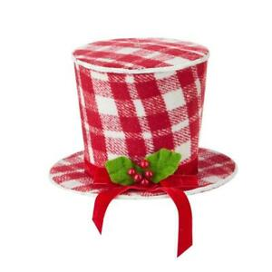 """8"""" Red and White Plaid Snowman Top Hat Christmas Tree Topper"""