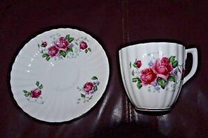 Teacup & Saucer Rose Pink Roses English Castle Bone China England