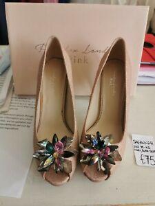 Pink Savannah Stiletto heels Blush gold beaded Detail Front Size 8 size 41 BNIB