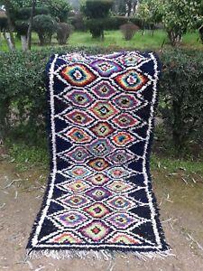 "Authentic Handmade Moroccan Boucherouite Rug carpet Tribal Runner 7'10""x3'5"""