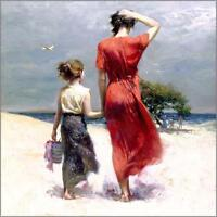 """Pino """"Afternoon Stroll"""" Giclee on Canvas Hand signed/Numbered 12x12 Beach Ocean"""