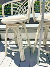 Indoor Swivel Whitewash Finish Rattan and Wicker Bar Stool with Backrest