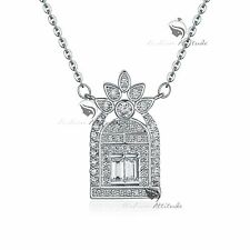 18k white gold gf simulated diamond pendant French perfume bottle necklace