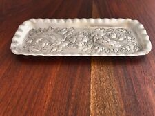 - J.E. CALDWELL & CO. STERLING SILVER PENCIL TRAY: REPOUSSE FLORAL NO MONOGRAMS