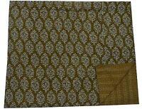 Indian Handmade Green Floral Throw Twin Kantha Quilt Bedspread Cotton Gudari