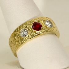 Vintage Diamond & Natural Ruby 18k Yellow Gold Band Ring, .83tcw, Size 10