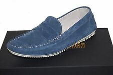 Gianfranco Lattanzi Men's Blue Loafers Suede Italy Shoes Size EU 45 US 12 NEW