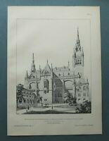 AR89) Architektur Aachen 1889 Rathaus Konkurenzentwurf Holzstich 28x39cm
