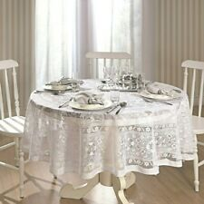 White Lace Round Persia Tablecloth / Table coverSize 180 cm ≅ 70 inch.