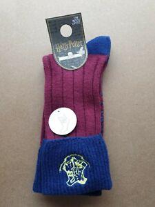 Harry Potter Hogwarts burgundy and blue socks. Size UK 4 - 8. New. Cosy.