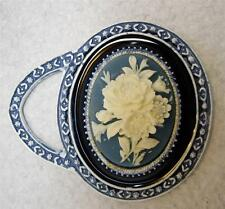 Vintage Florenza Small Blue Flower Cameo Purse Hand Mirror~New Old Stock